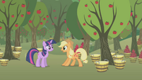 Applejack surprised by Twilight S1E04