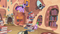 Tower of books about to fall onto Spike S4E03