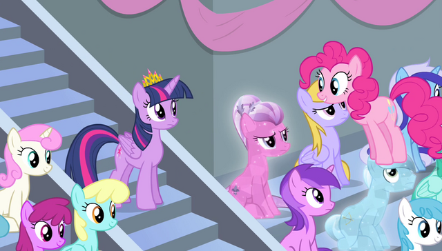 File:Pinkie Pie standing on Crystal Pony's head S4E24.png
