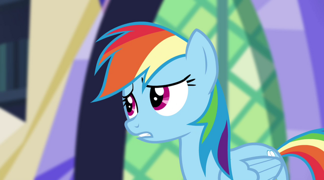 "File:Rainbow Dash ""the connection between their world and Equestria"" EG2.png"