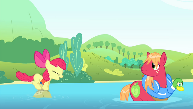 File:Apple Bloom jumps onto a stone S4E20.png