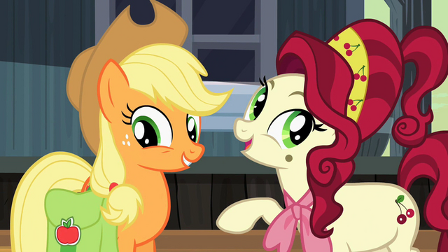 File:Cherry Jubilee explaining how well Applejack performed S2E14.png