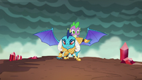 Princess Ember lands on the ground S6E5