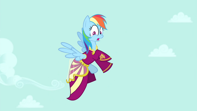 File:Rainbow Dash flying in Rarity's dress S4E23.png