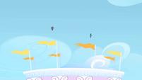 Rarity and Rainbow Dash flying into the sky S1E16