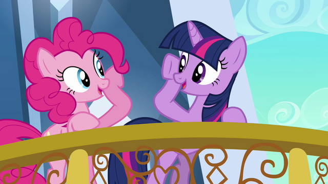 File:Pinkie Pie and Twilight about to brohoof S3E1.png