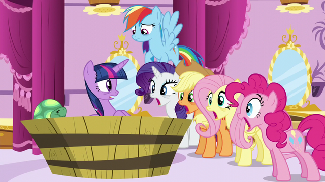 File:Twilight's friends stare at her with mouths agape S5E13.png