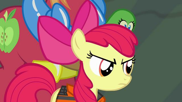 File:Apple Bloom glaring at Applejack S4E09.png