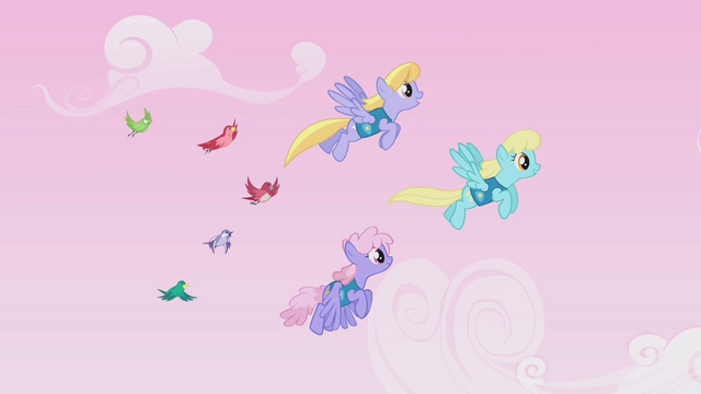 File:Cloud Kicker, Sassaflash, and Rainbowshine guiding birds S1E11.png