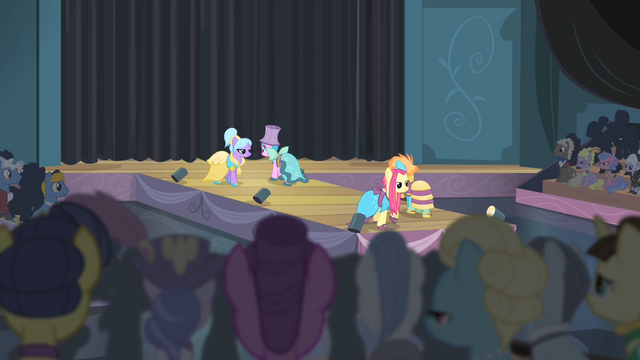 File:Ponies showing off the Hotel Chic dresses S4E08.png