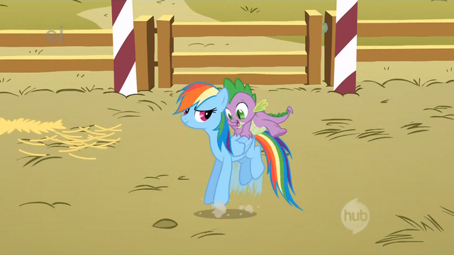 File:Rainbow Dash bucking to get Spike off her S1E13.png