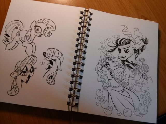 File:Rarity, Hoofbeard, and Jewel sketches by Brenda Hickey.jpg