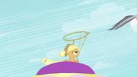 Applejack about to lasso Rainbow Dash S2E02