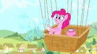Pinkie Pie making a bubble shaped like a pony S4E12