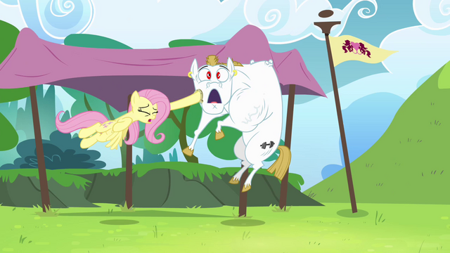 File:Fluttershy hits Bulk with horseshoe S4E10.png