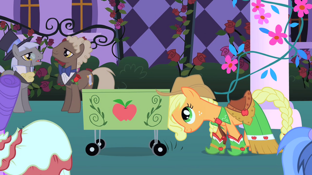 File:Applejack arrives with her cart S1E26.png