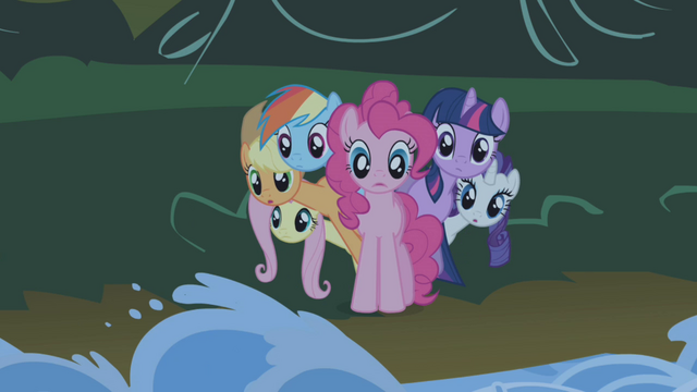 File:Ponies poking out from behind Pinkie S1E02.png