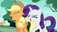 Applejack and Rarity Changelings laughing S6E25