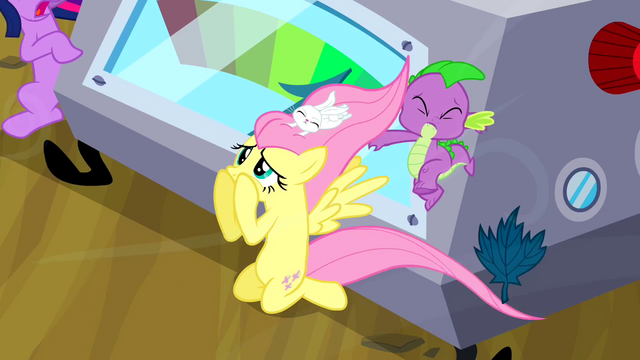 File:Fluttershy uncovering her eyes S2E22.png