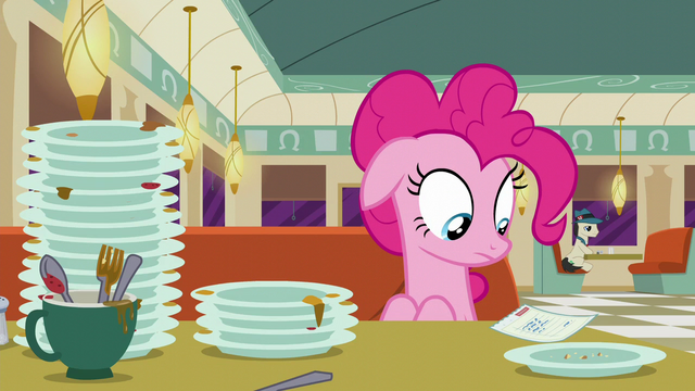 File:Pinkie Pie looking at the check S6E9.png