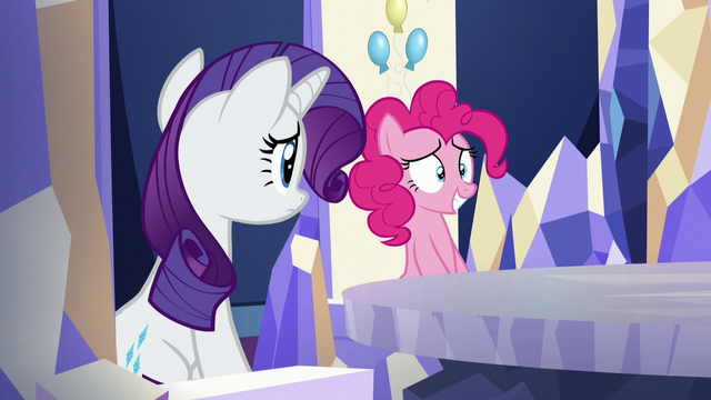 File:Pinkie and Rarity at their thrones; Pinkie feeling nervous S5E19.png