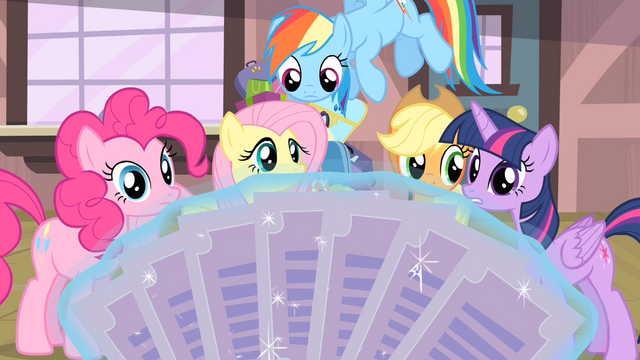 File:Rarity's friends looking at the tickets S4E08.png