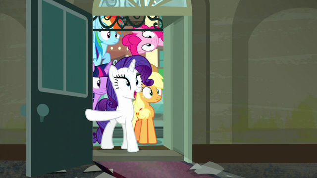 File:Rarity opens door; Mane 6 look at what's inside S6E9.png