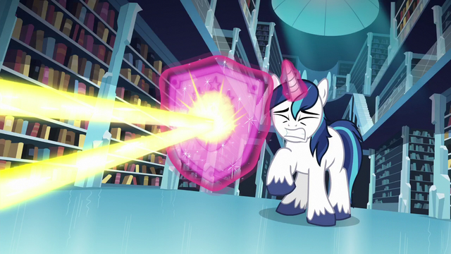 File:Shining Armor conjures a shield to deflect the magic beam S6E2.png