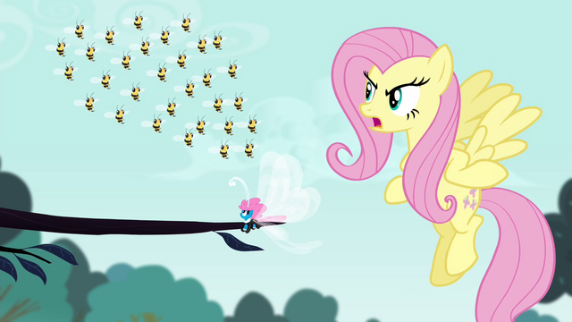 File:Fluttershy angry with the bees S4E16.png
