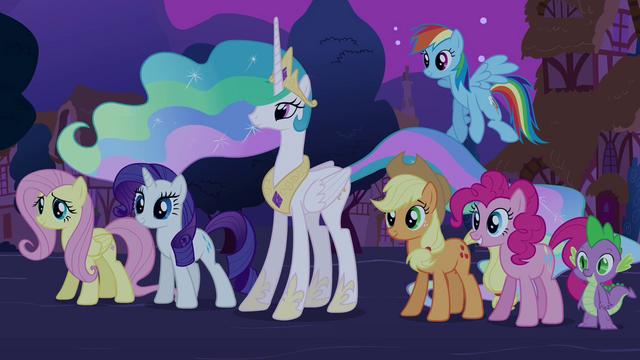 File:Main 5, Spike, and Celestia S03E13.png