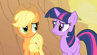 Applejack and Twilight considering Appleloosa's plight S1E21