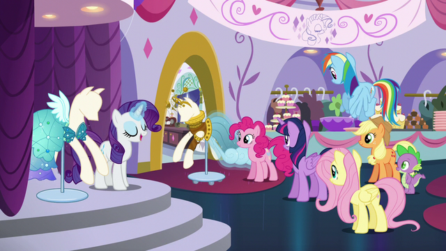 "File:Rarity ""And while I do agree that this dress has potential"" S5E14.png"