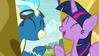 Twilight Sparkle and Misty Fly laughing S6E24