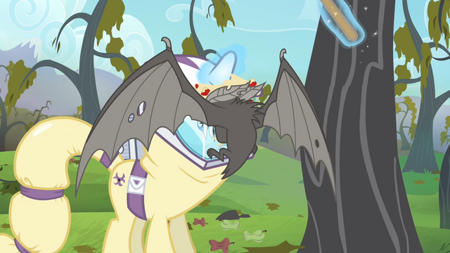 File:Bat lands onto Rarity's hazmat suit S4E07.png