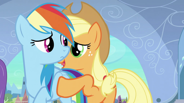 File:Applejack about to push Rainbow away S3E2.png
