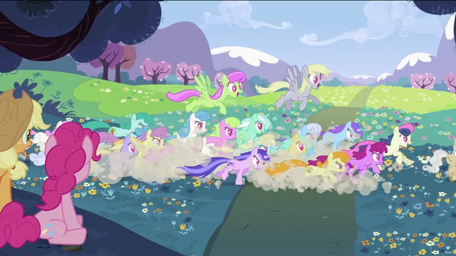 File:Applejack and Pinkie Pie seeing ponies chasing S2E03.png