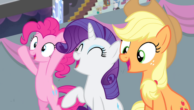 File:Pinkie, Rarity, and Applejack cheering S4E24.png