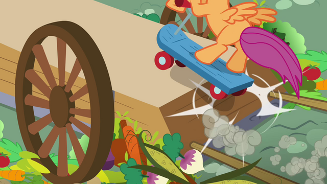 File:Scootaloo on the cart S3E6.png