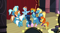Rainbow face-to-face with the other Wonderbolts and Stormy Flare S5E15