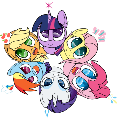 File:FANMADE Cute Mane Six in a circle.png