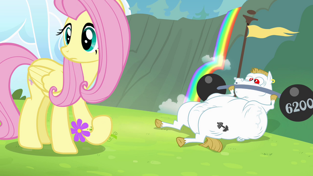 File:Fluttershy and Bulk hear Rainbow wailing S4E10.png