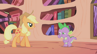 Applejack walking up to Spike S1E03