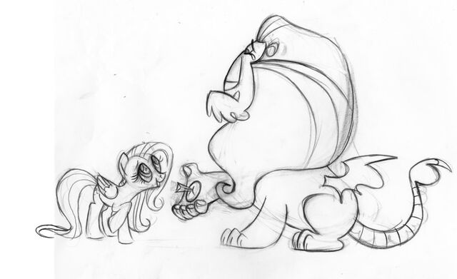 File:Lauren Faust Fluttershy and Manticore sketch.jpg