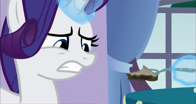 File:Rarity looks disgusted at the pie S3E9.png