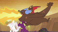 Brown dragon belching fire S2E21