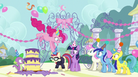 Pinkie sticks a party hat on Moon Dancer's head S5E12