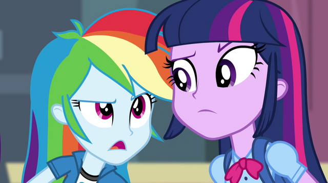 "File:Rainbow Dash ""weren't there rainbows and lasers"" EG2.png"