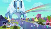 Rainbow Dash races over the Faire grounds S3E01