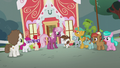 Cheerilee talking with foals outside school S5E18.png