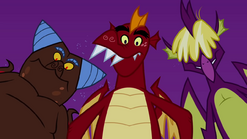 Trio of dragons looking down on nest S2E21